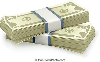 dólares, vetorial, pilha