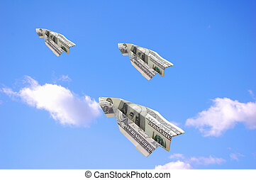 dólares, voando