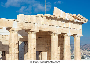 dórský, díl, acropolis, atény, entablature, sloupec