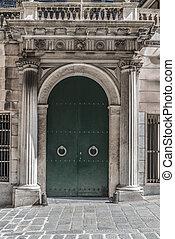 dórský, dveře, klenutý, sloupec