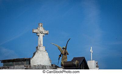 dôme, et, croix, cimetière recoleta