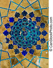 dôme, ouzbékistan, oriental, mosquée, ornements, bukhara