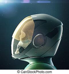 död, kranium, astronaut, in, rymddräkt, och, helmet., på, skum fond, med, stjärnor, och, flammor, 3, render