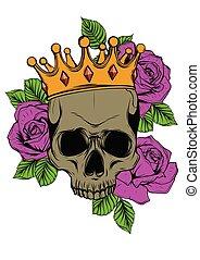 död, kranium, krona, illustration, ro, vektor, mänsklig