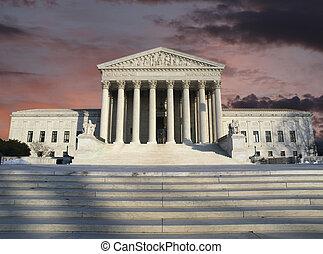 döntő bíróság, tisztás, viharzik ég