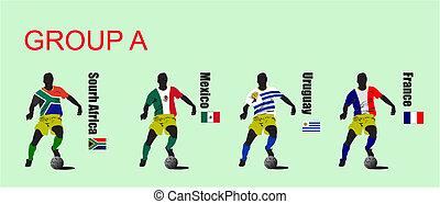 döntő, közül, világ, futball, csésze, 2010., 32, brigád, alatt, trikó, közül, a, nemzeti, flags.