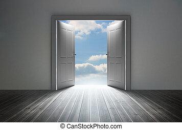 dörröppning, avslöjande, blanka blåa, sky