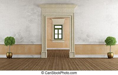 dörröppning, sten, gammal, rum