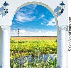 dörr, äng, solar, lysande, grön, synhåll, öppna, upplyst