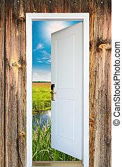 dörr, äng, solsken, lysande, grön, synhåll, öppna, upplyst
