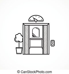 dörr, öppnat, hiss, vektor, svart, fodra, ikon