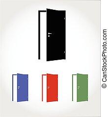 dörr, öppnat, ikon, färg