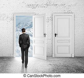dörr, öppnat, loft