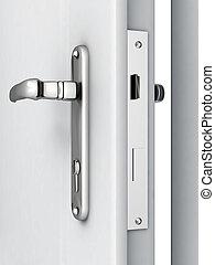 dörr, öppnat, nymodig, låsbar, mekanism, bakgrund, vit