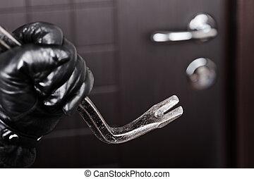 dörr, öppning, hand, paus, holdingen, inbrottstjuv, kofot
