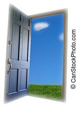 dörr, öppning, till, grönt gräs, och blåa, sky