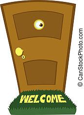 dörr, bak, spejande