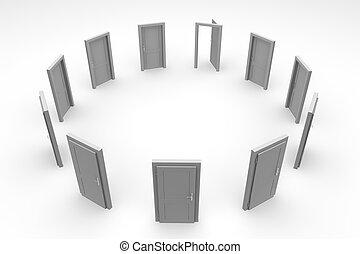 dörr, cirkel, -, grå, öppna