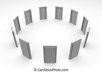 dörr, cirkel, -, grå, stängd