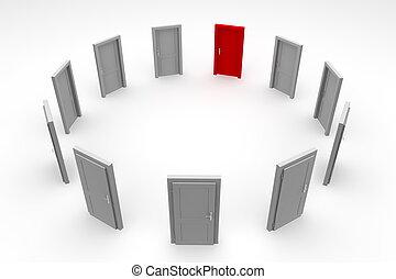 dörr, cirkel, -, stängd, röd