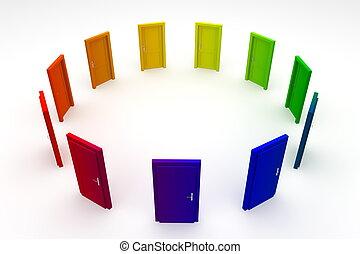 dörr, dörrar, -, 1, stängd, cirkel, färgglatt