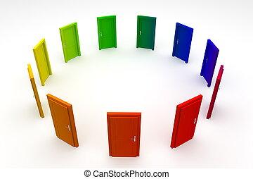 dörr, dörrar, -, 2, stängd, cirkel, färgglatt