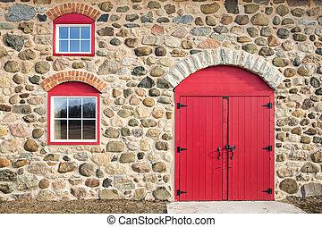 dörr, fönstren, välvd, röd, lysande