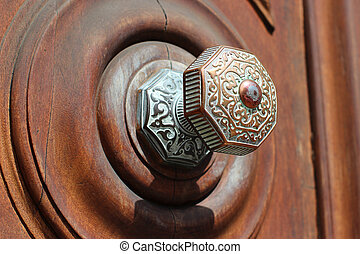 dörr, gammal, antikvitet, handtag, hos, rom, italien