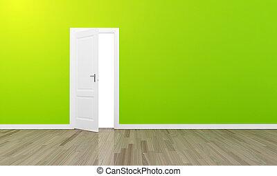 dörr, golv, vägg, stort, trä, grön, oppen