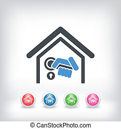 dörr, hem, handtag, ikon
