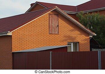 dörr, hus, tak, fönster, del, tegeltäckt, under, tegelsten, röd
