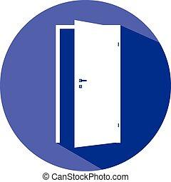 dörr, ikon, tom, vit, öppnat