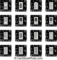 dörr, ikonen, sätta, grunge, vektor