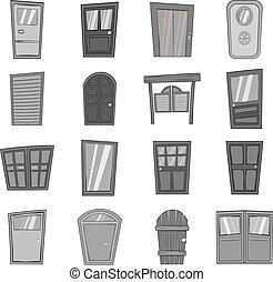 dörr, ikonen, sätta, in, svart, monokrom, stil