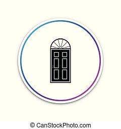 dörr, isolerat, illustration, button., bakgrund., vektor, stängd, vita krets, ikon