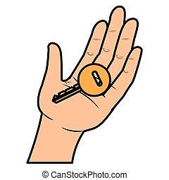 dörr, mänsklig, nyckel, hand