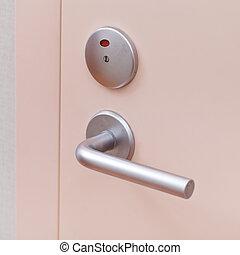 dörr, med, metallisk, handtag
