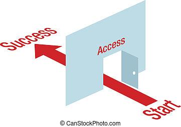dörr, pil, framgång, ingång, genom, väg, bana