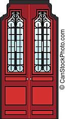 dörr, röd, gammal