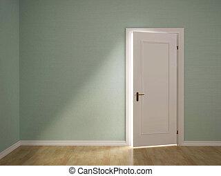 dörr, rum, illustration, grön, öppna, 3