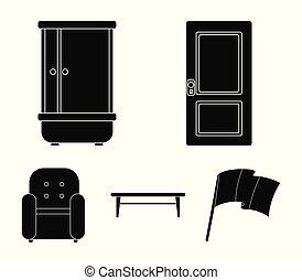 dörr, skur, soffbord, armchair.furniture, sätta, kollektion, ikonen, in, svart, stil, vektor, symbol, aktie illustration, web.