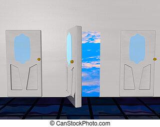 dörr, sky