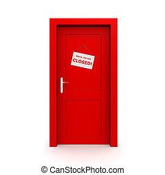 dörr, stängd, röd, underteckna