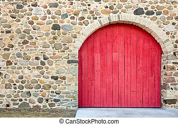 dörr, sten, välvd, röd, lysande, vägg