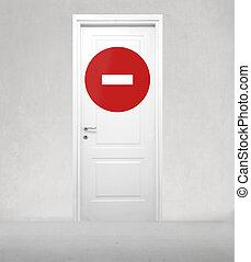 dörr, stoppskylten