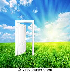 dörr, till, ny värld