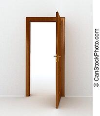 dörr, trä, över, bakgrund, vit, öppna
