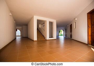 dörr, trappa, trä, inre, sal, tom