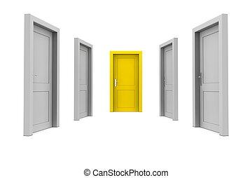 dörr, välja, gul