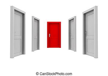 dörr, välja, röd